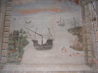 Affresco dipinto all'interno del Palazzo dei Conti Sangueneda