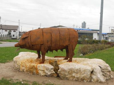 Il simbolo di Isola Rizza, un maiale con in bocca alcune spighe di riso